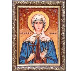 Лидия - Именная икона из янтаря (бурштину) - ручная работа (Лидия )