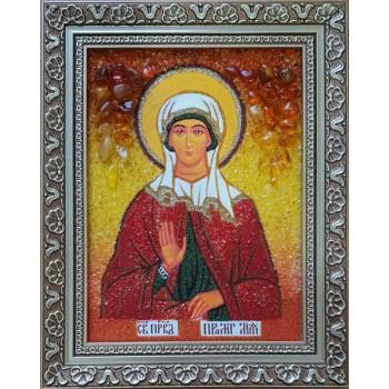Лия - именная икона ручной работы из янтаря (ар-216)