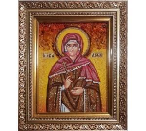 Лукия Сиракузская - янтарная икона ручной работы (ар-353)