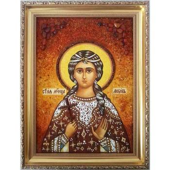 Любовь Римская - именная икона из янтаря (ар-234)
