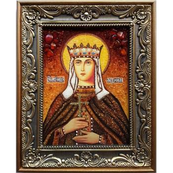 Людмила Чешская - Чудесная именная икона ручной работы из натурального янтаря (ар-124)