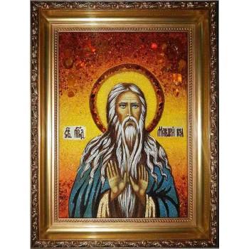 Макарий Великий - икона ручной работы, из янтаря (ар-65)