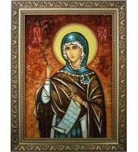 Марина (Маргарита) Антіохійська - ікона з янтаря (ар-288)