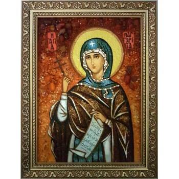 Марина (Маргарита) Антиохийская - икона из янтаря (ар-288)