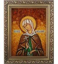 Мария Вифинская - именная икона из янтаря, ручная работа (ар-175)