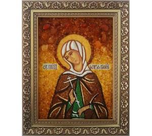 Марія Вифинская - іменна ікона з янтаря, ручна робота (ар-175)