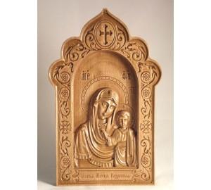 Матір Божа Казанська - Різьблена дерев'яна ікона (300 х 192, Дуб) (ДВ-3)