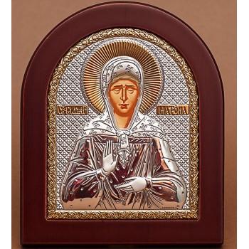 Блаженна Матрона (Московська) - Ікона з Греції з сріблом та позолотою (GOLD)