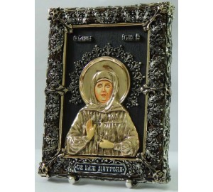 Матрона Московская - настольная икона с серебром (Ос-ММ33)