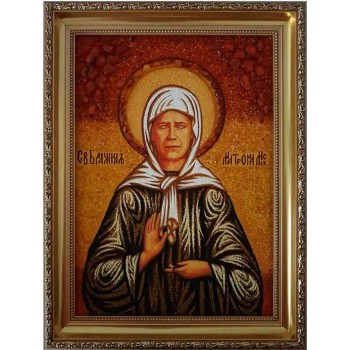 Матрона Московская - янтарная икона ручной работы (ар-63)
