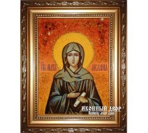 Меланья - Именная икона из янтаря (ар-107)
