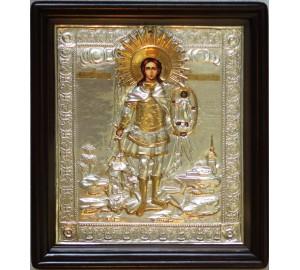Михаил Архангел - Писаная икона в серебряном окладе (хм-09)