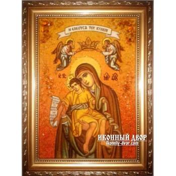 Милостивая икона Божией Матери - Икона ручной работы из янтаря (ар-90)