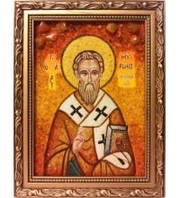 Мирон Критский - икона с янтарем (ар-334)