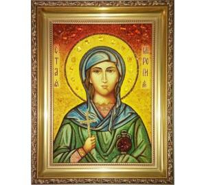 Миропия Хиосская - икона с янтарем (ар-310)