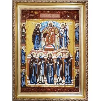 Молитва задержания - икона из янтаря (ар-360)