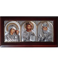 Настольная (автомобильная) икона святого Николая, Спасителя и Казанской Богородицы (501XBG)