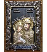Настольная икона с серебром Святые Петр и Феврония (Ос-ПФ33)