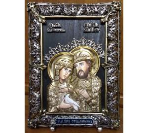 Настільна ікона з сріблом Святі Петро і Февронія (Ос-ПФ33)