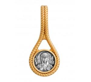Нательная серебряная икона, образ святой Ольги (S-01)