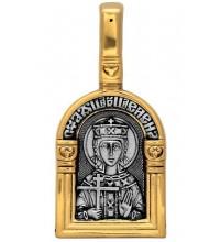 Нательная серебряная икона, образок святая царица Елена (S-02)