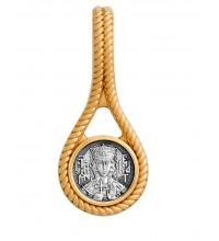 Нательная серебряная икона, образок святая Екатерина (S-09)