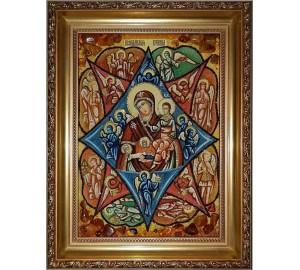 Неопалима Купина - Красива ікона з бурштином, ручна робота (ар-40)