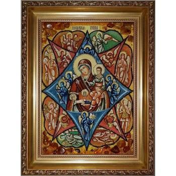 Неопалимая Купина - Красивейшая икона из янтаря, ручная работа (ар-40)
