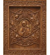 Неопалимая купина - резная икона из натурального дерева (р-16)