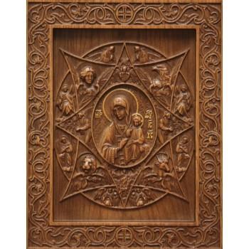Неопалима купина - різьблена ікона з натурального дерева (р-16)