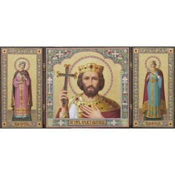 Непревзойденный триптих Св. царь Константин, св. мч. Екатерина и Александра (ир-23)
