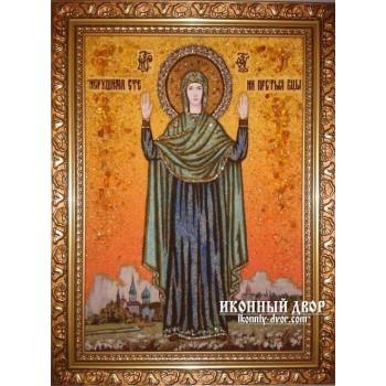Нерушимая Стена - Янтарная икона, ручная работа (ар-102)