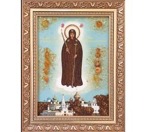 Неугасимая свеча - икона из янтаря (ар-386)
