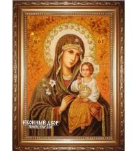 Неувядаемый цвет - великолепная икона Божьей Матери из янтаря (ар-202)