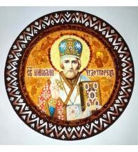 Николай Чудотворец - икона из янтаря на декоративной основе, ручная работа (RB-200)
