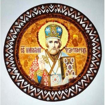 Микола Чудотворець - ікона з янтаря на основі декоративної, ручна робота (RB-200)