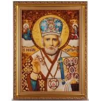 Николай Чудотворец - Икона из янтаря, ручная работа (ар-16)