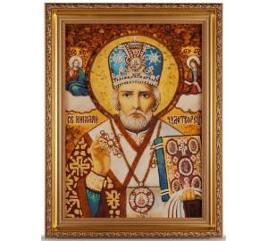 Микола Чудотворець - Ікона із бурштина, ручна робота (ар-16)