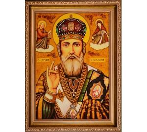 Николай Чудотворец - Икона из янтаря ручной работы (ар-271)