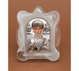 Николай Чудотворец - Икона в муранском стекле, с серебром и позолотой (EK1MAG Николай)