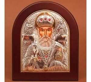 Николай Чудотворец - Икона в рамке из дерева арочной формы (GOLD)