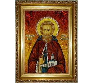 Никон Радонежский - икона из янтаря (ар-323)