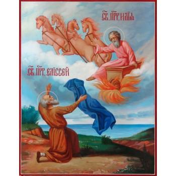 Огненное восхождение пророка Илии - писаная икона (ир-38)