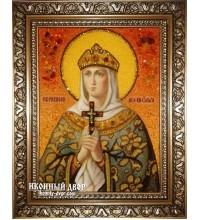 Ольга именная икона из янтаря - Равноапостольная княгиня Ольга (ар-4)