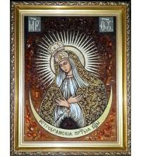Остробрамская Икона Богородицы - Ручная работа, из янтаря  (ар-273)
