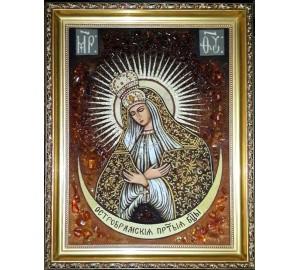 Остробрамська Ікона Богородиці - Ручна робота, з бурштину (ар-273)