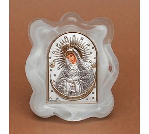 Остробрамская икона Божьей Матери - Икона в муранском стекле с серебром и позолотой (EK1MAG Остробрамская)