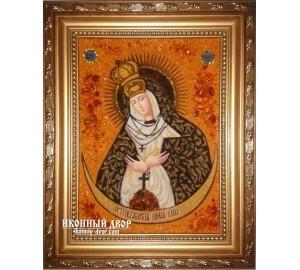 Остробрамська Ікона Божої матері - Ручна робота, з бурштину (ар-9)