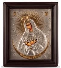 Остробрамская икона - писаная икона, с серебром (хм-56)