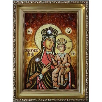 Озерянская икона Божьей Матери - икона с янтарем (ар-316)